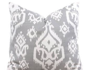 SALE ENDS SOON Ikat Gray Throw Pillowcase, Gray Pillow Covers, Ikat, Gray and White, Cushions, Toss Pillows, Gray Cotton Pillows