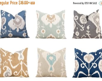 SALE ENDS SOON Ikat Pillows, Ikat Throw Pillow Covers, Navy Pillowcases, Gray Cushions, Navy Ikat Pillows, Blue, Brown, Cream