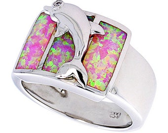 Women Sterling Silver Rhodium Plated, Pink Simulated Opal Dolphin Ring 13mm(DCTopr74p)