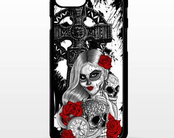 Sugar skull girl cross day of the dead rose ink cool tattoo pattern art cover for Samsung Galaxy S5 S6 s7 s8 plus edge note 4 5 phone case