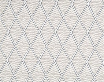 Taupe Upholstery Fabric for Furniture, Geometric Headboard Fabrics, Rhombus Linen Fabric, Neutral Home Decor Fabric - by the yard