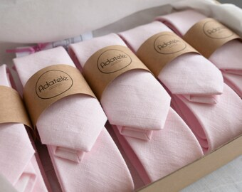 Soft Pink Linen Necktie- Pale Pink Neck Tie- Wedding Ties- Light Pink Grooms Necktie- Groomsmen Neckties