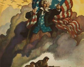 Buy War Bonds (artist: Wyeth) USA c. 1942 - Vintage Poster (Art Print - Multiple Sizes Available)