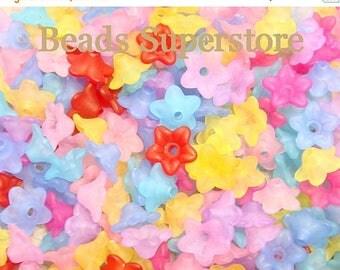 SALE BULK 10 mm x 5 mm Lucite Flower Bead MIX - 100 pcs