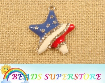37 mm x 35 mm Blue, Red and White Star Rhinestone Pendant - Patriotic 4th of July - Chunky Necklace Pendant (RCP11)