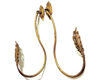 Antique French Curtain Tie Backs/Gilt Bronze Curtain Tie Backs/Antique Gilt Bronze Curtain Holdbacks/Drapery Holdbacks/Curtain Hardware