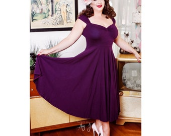 Tea Length Vintage Plum BRIDESMAID Dress, Casual Stretch Knit, Mod Wedding, Rockabilly Pin Up Party Dress with Multiway Capped Sleeves