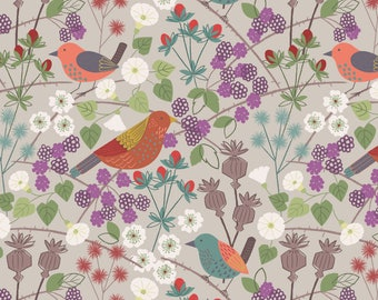 A251.1 - Hedgerow Birds On Natural Lewis & Irene Patchwork Quilting Dressmaking Fabric