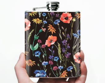 Cute flask | flask for women | best girlfriend gift | floral | gift for girlfriend ideas | girlfriend birthday gift | romantic | 7 oz