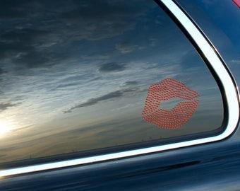 Lips Kiss Love Red Heart Rhinestone Car Decal Bling