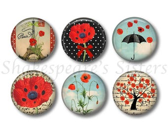 Poppy Flower Magnets - Refrigerator Magnets - Set of 6 Magnets - 1.5 Inch Magnets - Poppy Kitchen