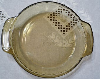 Vintage Glass Deep Dish Pie Plate Anchor Hocking Brown Glass Ovenware Retro Bakeware Panchosporch