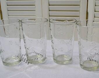 Vintage Anchor Hocking Savannah Water Glass Tumbler Set of 4 Clear Glass Flower Pattern Made in USA PanchosPorch