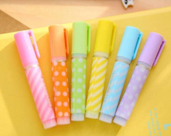 6 piece Mini Highlighter Set/USA Seller/Assorted Color Highlighters/School Supplies/Office/Supplies/Craft/Cute Kawaii/Cute school supplies/