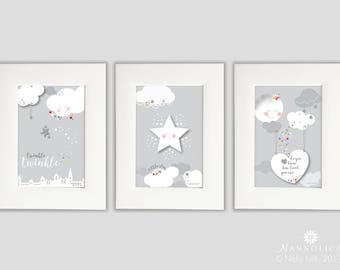 Twinkle Twinkle Little Star Prints x3 (FRAMED), Star Nursery Artwork, Star print, Grey nursery print, Silver glitter nursery print, Clouds
