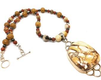 Yellow Picture Jasper And Mixed Beaded Necklace 925 Silver 16""
