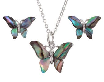 Tide Jewellery Paua Shell Butterfly Pendant & Earrings Gift Boxed