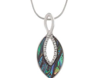 Tide Jewellery Paua Shell Oval Infinity Pendant Gift Boxed