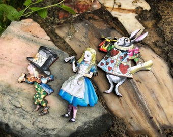 Alice in Wonderland Brooch Pins, Mad Hatter, White Rabbit, Through The Looking Glass, Vintage Fairytale, Whimsical Jewelry, Tea Party
