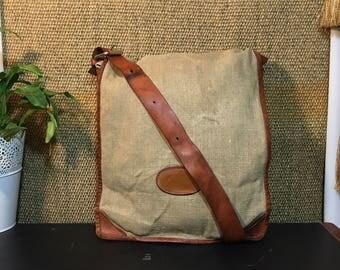 Vintage 1990's Off White Canvas And Brown Leather Bag / Shoulder Strap Bag / Satchel