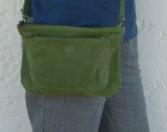 Suede green shoulder bag