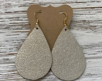 Rose gold shimmer on light gold leather earrings, 100% leather, soft, lightweight
