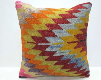 REDUCED! Kilim pillow cover 16x16 square, removable