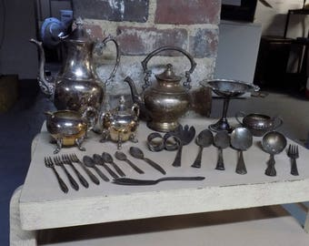 Antique Silverplate Tea Set Lot 24 Pieces Tea Pot Cream Sugar Spoon Fork Rogers Bros 1847