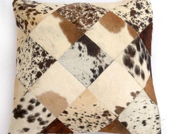 Natural Cowhide Luxurious Patchwork Hairon Cushion/pillow Cover (15''x 15'')a134