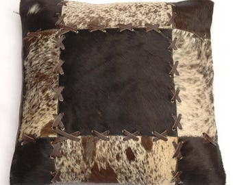 Natural Cowhide Luxurious Patchwork Hairon Cushion/pillow Cover (15''x 15'')a209