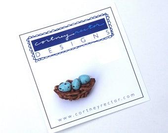 Blue Eggs in Nest polymer clay pin brooch original art by Cortney Rector Designs