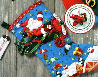 "Bucilla Airplane Santa ~ 18"" Felt Christmas Stocking Kit #86863, Pilot, Plane DIY"