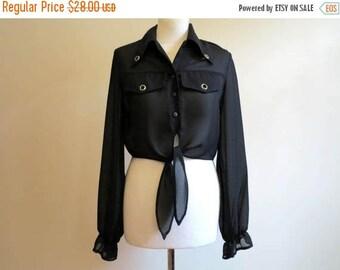 ON SALE Black Sheer Chiffon Blouse Cropped Blouse Transparent Poet Sleeves Blouse Tied Chiffon Blouse Medium Size
