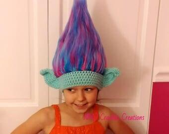 Crochet Trolls hat - Troll Hair Hat - Troll Wig - Halloween Costume - Wig Hat - Kids Costume - Crochet Wig - Adult Costume -