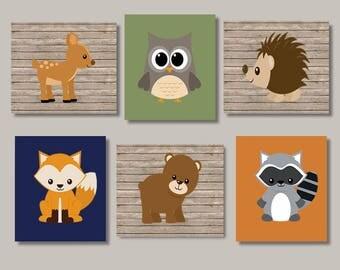 Woodland Animals Nursery Wall Art Boy Nursery Decor Woodland Nursery Prints Or Canvas Set of 6 Woodland Friends Creatures Navy Nursery