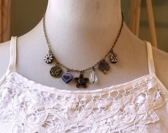 Czech glass necklace Dangling charm rustic blue necklace Tree charm Flower charm Butterfly charm Boho necklace