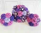 Paper Flower Wedding Origami Rose Bouquet purple cadbury plum grape lilac  kusudama lace vintage romantic pearl theme alternative