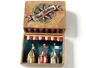 Shadow box   Happy Birthday 3x Circus   Matchbox  art   Diorama   Circus   5.5 cm x 7.5 cm   2.2'' x 2.9''
