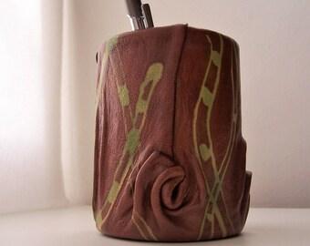 Pot à crayons CUIR  DECO Accessoirebureau  artisan-créateur