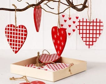 Scandinavian Red & White Heart Wooden Ornaments Box of 12  #7282