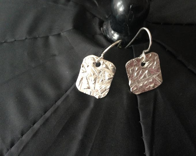 Earhangers  with structure , sterling silver posts,  modern with a fashion shape, handmade with love, unique jewelry with love