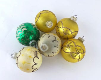 6 Vintage Glass Ornaments, Vintage Ornaments, Christmas Ornaments