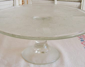 Vintage Jeannette Glass Company Clear Glass Harp Pattern Cake Stand