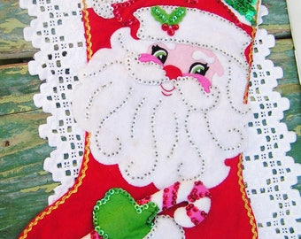 Vintage Complete Bucilla Felt Santa with Candy Cane Christmas Stocking Sequins Beads Applique Holiday Decor