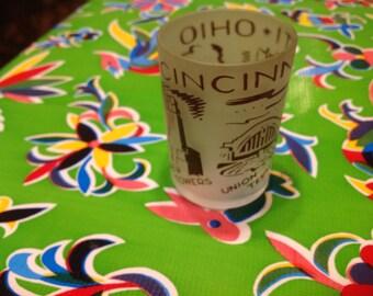 Vintage Cinncinati Ohio frosted souvenir shot glass
