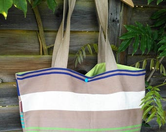 Genuine blue horizontal stripes of basque cotton canvas tote bag Green and white
