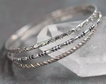 Set of Three Vintage Sterling Silver Bangle Bracelets