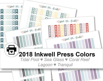 2018 Inkwell Press Planner & other Planner Check Flags Printable Sticker Kit, Tidal Pool, Sea Glass, Coral Reef, Lagoon - Instant Download