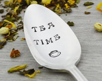 Tea Time Hand Stamped Tea Spoon • Stamped Silverware • Gift Idea for Tea Lover
