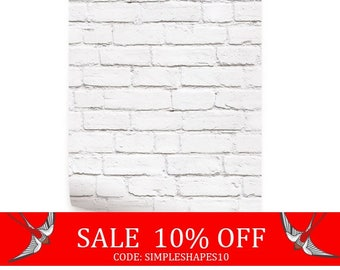 Summer Sale - Removable Wallpaper White Brick Modern Clean Look Self Adhesive Fabric Wallpaper Repositionable
